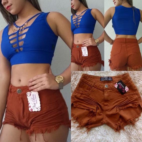 Shorts Jeans Feminino Destroyed Hot Pants Cintura Alta Lindo