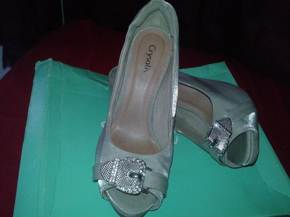 Sapato Peep Toe Femenino Nude Da Crisalys N 37
