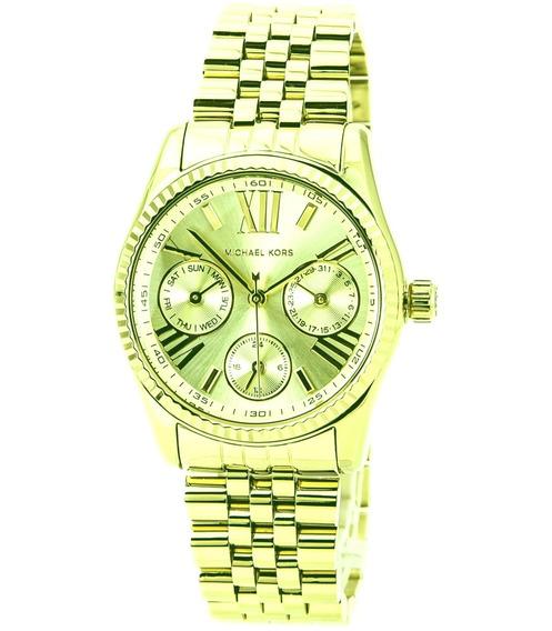 Relógio Luxo Michael Kors Mk5808 Orig Chron Anal Gold