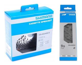 Cassete Shimano 9v Hg400 11-34 + Corrente Hg53 9v Speed