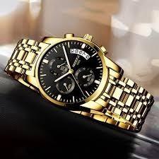 Relógio Nibosi Cronógrafo P/entrega Original Novo Dourado