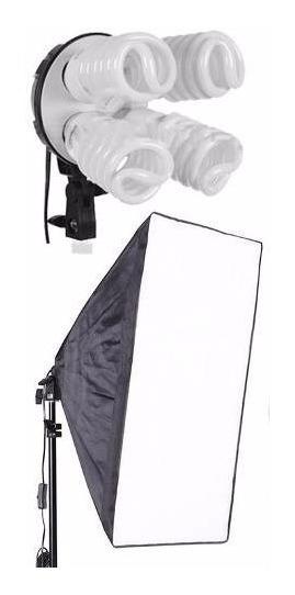 Kit Softbox E27 Quadruplo C Lampada Tripé 2m Ideal Youtubers