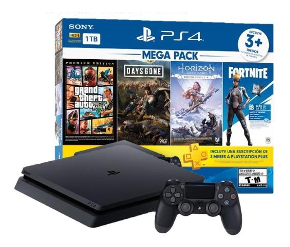Consola Ps4 1tb Slim Mega Pack