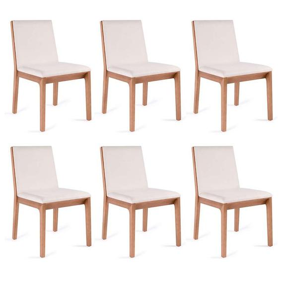 Conjunto Com 6 Cadeiras De Jantar Iris Branco E Castanho