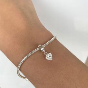 Berloque Prata 925 Coração Pendurado Para Pandora Vivara