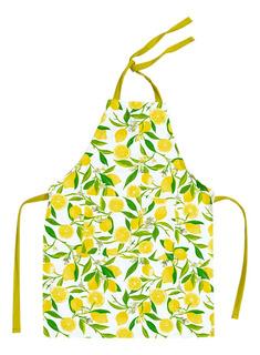 1 Mandil Para Cocina Diseño De Limones + 1 Paño De Microfibra + De Regalo Bolsa Funda Para Celular, Mp3, Mp4