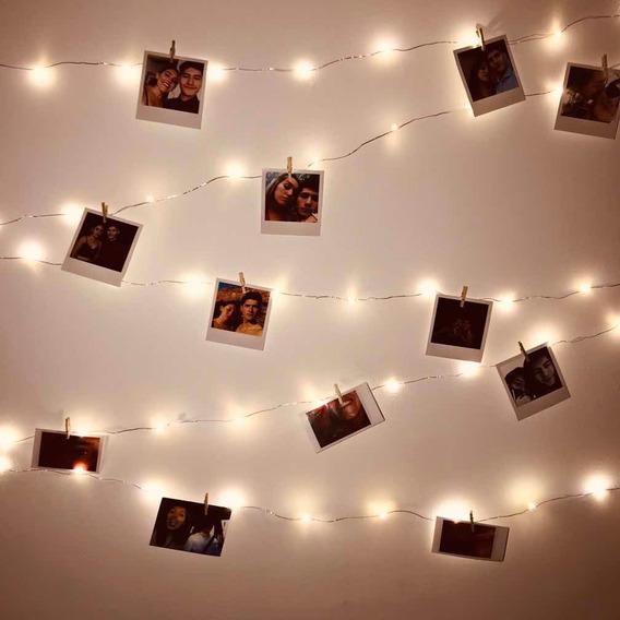 Fotos Polaroid + Tira Luces Led + Mini Broches