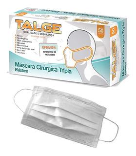 Máscaras Tnt Triplas Com Elástico Cirúrgica Pct 50 Unidades