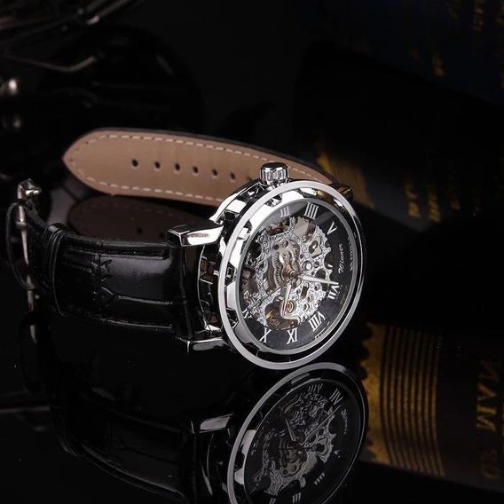 Shellhard Luxo Relógio Automático Preto Esqueleto Esporte Me