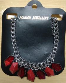 Fashion Colar Aço E Pedras Vermelha