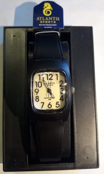 Relógio Atlantis Preto Fundo Bege 5541w Feminino Original