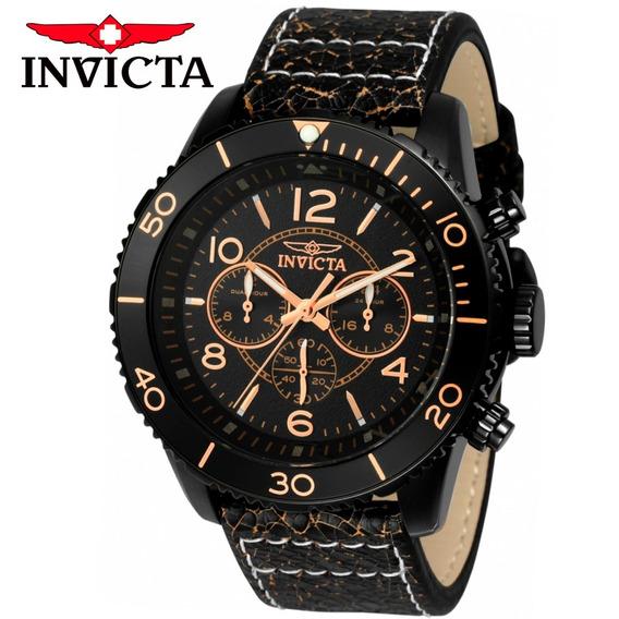 Relógio Masculino Invicta Aviador 24554 Pulseira Couro Preto Original Nota Fiscal Garantia Frete Grátis Oferta Joclock