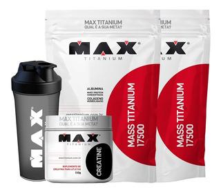 Combo 2x Hipercalorico 3k + Creatina + Brinde- Max Titanium