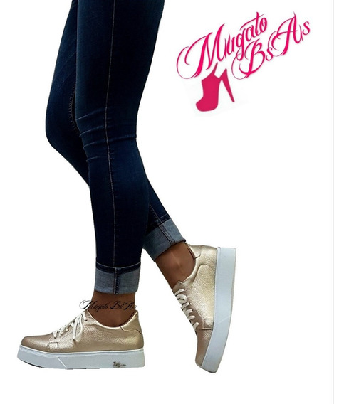 Zapatillas Plataforma Sneaker Mujer Con Tachas Mugato-bsas