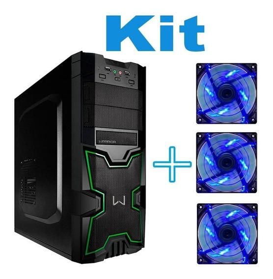 Kit Pc Gamer Gabinete Vazio + 3 Cooler Led Azul Original Top