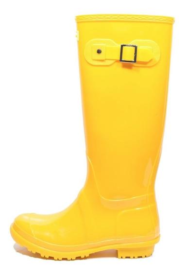 Késttou Galocha Bota Borracha Gloss Amarelo Para Chuva Kt001