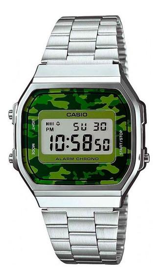 Relógio Casio Vintage A168wec-3df Cinza E Verde