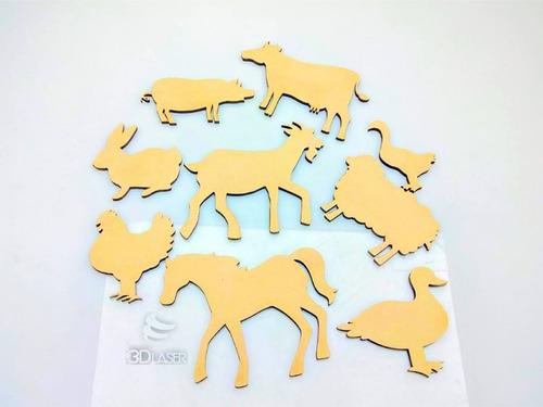 Imagen 1 de 3 de Kit Animales Granja X10u - Mdf / Fibrofacil