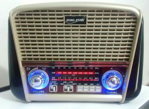 Radio Portátil Vintage Retrô Recarregável Bluetooth Usb / Fm