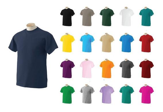 Camisetas Cuello Redondo Color En Algodón 180 Gr