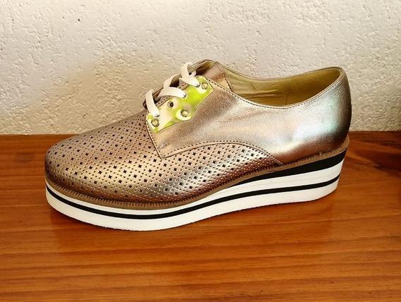 Zapatos Oxford Zapatillas Plataforma Cuero 100%