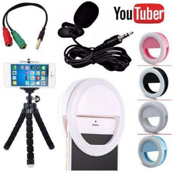 Kit Youtuber Microfone De Lapela Para Celular Smartphone + F