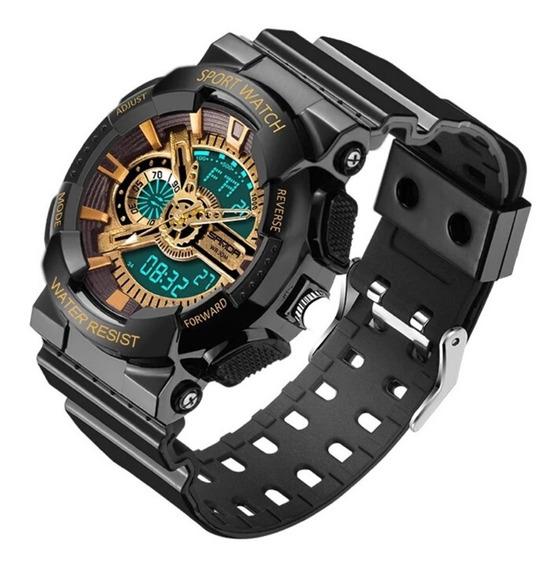 Relógio Masculino Preto Dourado Led Digital Shock Esporte