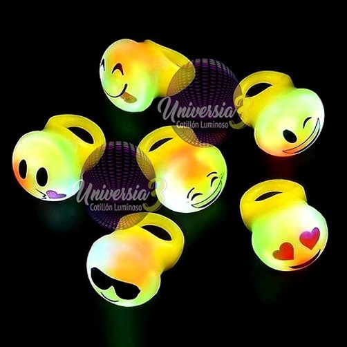 10 Anillo Silicona Emoticon Led Cotillon Luminoso Combo Led