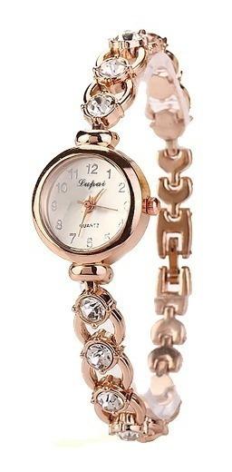Kit Relógio Dourado Feminino De Pulso Quartz Com 5 Unidades