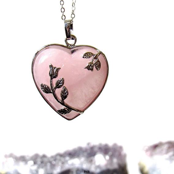 Collar Auténtico Cuarzo Rosa Corazón Floral Cadena Acero
