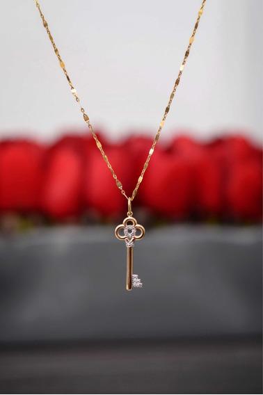 Pingente Ouro 18k Chave Do Coração C/ Bril. + Colar Feminino