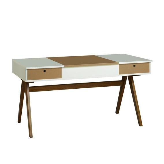 Mesa Escrivaninha Delacroix 430 Nogal/branco/marrom Médio