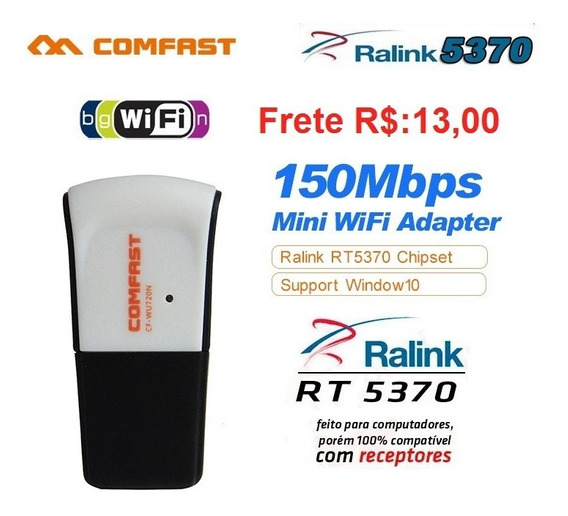 Adaptador Wireless Usb Wifi Ralink Rt5370 (frete R$: 16,00)