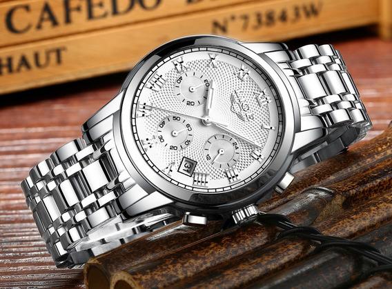 Relógio Masculino Top 9849 Original White Luxo Quartzo Lige