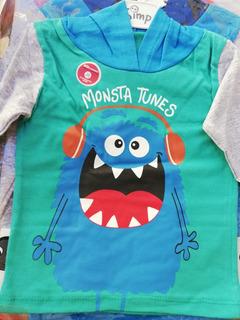 Remera Bebe Mangas Largas Con Capucha Diseño Monstruos