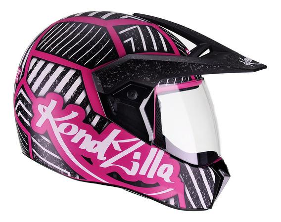 Capacete Moto Feminino Bieffe 3 Sport Kondzilla Rosa Fosco