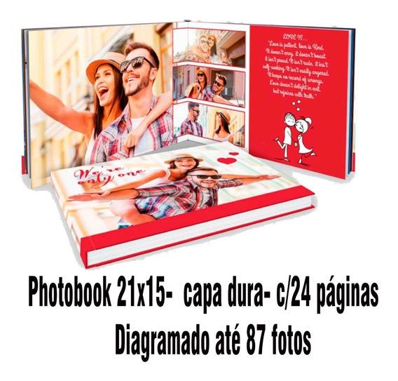 Álbum 21x15 Capa Dura, C/ 24 Pág Diagramado Até 87 Fotos