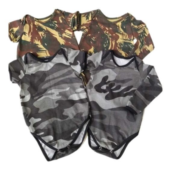 4 Bodys Camuflado Exército E Urbano Manga Longa - Bebê