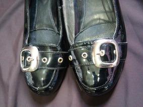Flats Flexi #22 Color Negro -charol- Hebilla Plata Al Frente