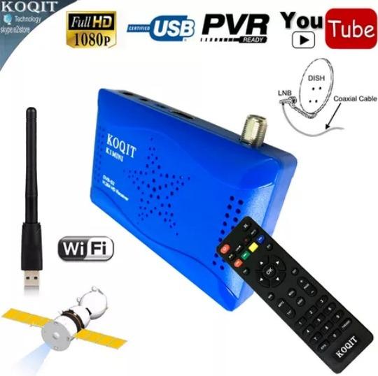 Receptor De Satelite Digital Hd Dvb S2 Koqit Mini K1 Azul Cs