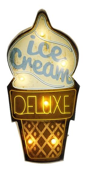 Luminoso De Parede Vintage Led Retrô Ice Cream 22x46cm