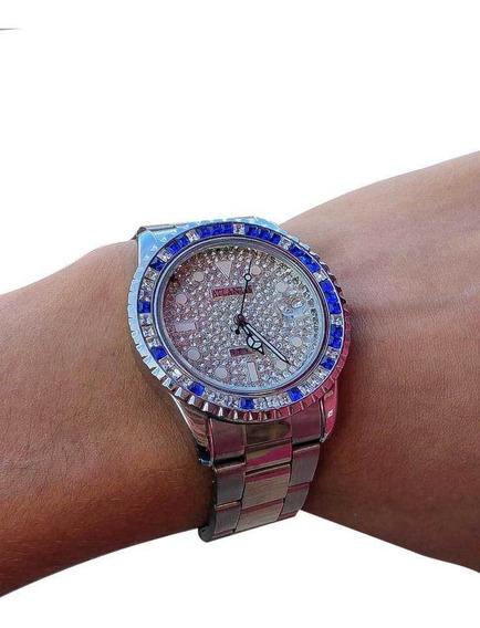 Relógio Atlantis Style Prata Com Pedras Azuis - Mr18012t