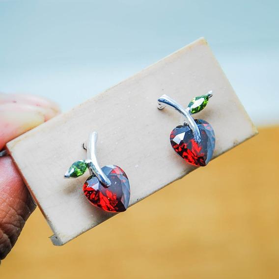 Aretes De Plata Manzanitas Con Circonia
