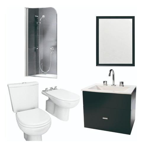 Combo De Baño Simple Mampara Espejo Inodoro Y Vanito- Cuotas