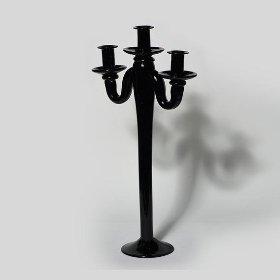 Castiçal De Vidro Black Motion 3 Velas Decorativo Nordeste