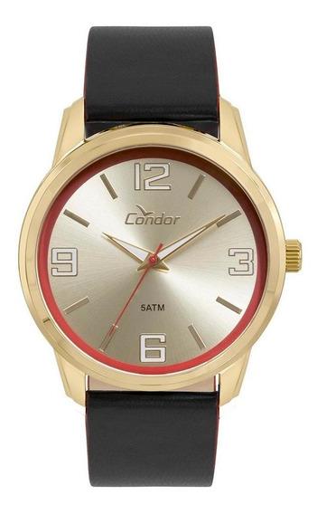 Relógio Condor Masculino Couro Dourado - Co2035kwv/k2d