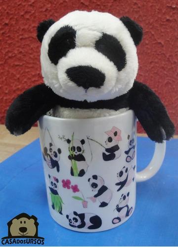 Imagem 1 de 7 de Caneca Lembrancinha De Porcelana 330 Ml + Urso Panda 15cm