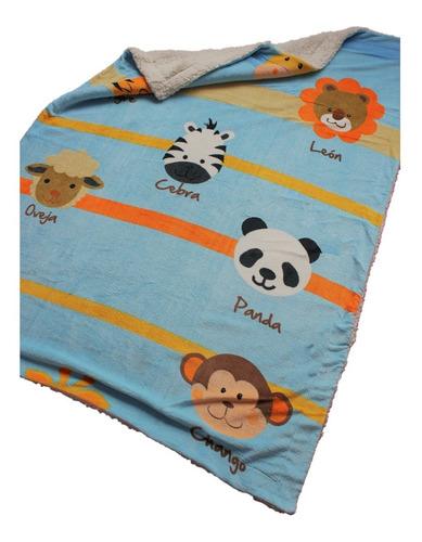 Imagen 1 de 4 de Cobertor Con Borrega Infantil 1.00x1.30 Modelo Zoo Azul