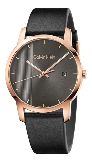 Reloj Calvin Klein City K2g2g6c3 Piel Negro Acero Oro Rosa