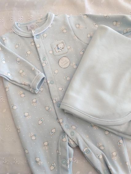Saída De Maternidade Bebê Menino Urso Polar Azul Piu Piu